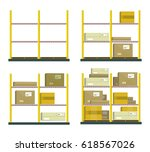 set of racks with boxes in flat ... | Shutterstock . vector #618567026
