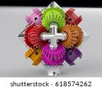 3d rendering gear assembly... | Shutterstock . vector #618574262