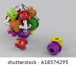 3d rendering gear assembly... | Shutterstock . vector #618574295