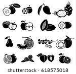 fruit vector icon set   Shutterstock .eps vector #618575018
