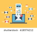 laptop with envelope and open... | Shutterstock .eps vector #618576212