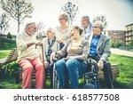 group of senior people bonding... | Shutterstock . vector #618577508