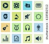 multimedia icons set.... | Shutterstock .eps vector #618582512