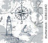hand drawn vector seamless sea... | Shutterstock .eps vector #618611642