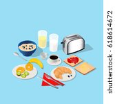 isometric. breakfast and... | Shutterstock .eps vector #618614672