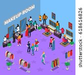 makeup room with models and... | Shutterstock .eps vector #618616826