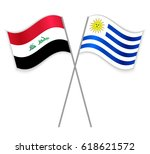 iraqi and uruguayan crossed...   Shutterstock .eps vector #618621572