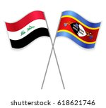 iraqi and swazi crossed flags.... | Shutterstock .eps vector #618621746