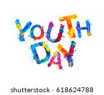 youth day. splash watercolor... | Shutterstock .eps vector #618624788