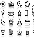 fast food minimalistic icons set | Shutterstock .eps vector #61862677