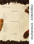 vertical coffee menu with... | Shutterstock . vector #618643862