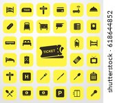 ticket icon. hotel set. vector... | Shutterstock .eps vector #618644852