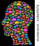 speech bubbles in head profile | Shutterstock .eps vector #618649076