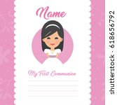 my first communion invitation... | Shutterstock .eps vector #618656792