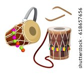 dhol types of double headed... | Shutterstock .eps vector #618657656