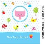 merry baby piggy arrival | Shutterstock .eps vector #61865941