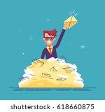positive businessman found the... | Shutterstock .eps vector #618660875