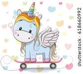 cute cartoon blue unicorn on... | Shutterstock .eps vector #618660992