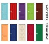 set of color door icons  vector ... | Shutterstock .eps vector #618662096