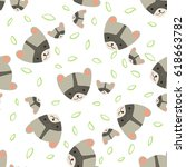 cute raccoon with childs.... | Shutterstock .eps vector #618663782