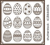 set of cute easter egg with... | Shutterstock .eps vector #618666836