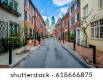 street and row houses in center ... | Shutterstock . vector #618666875