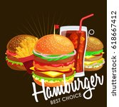 set of tasty burgers grilled... | Shutterstock .eps vector #618667412