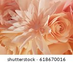 beautiful paper rose and dahlia ...   Shutterstock . vector #618670016