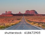 famous road leading to the rock ... | Shutterstock . vector #618672905