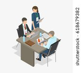 three workers  two men sit at... | Shutterstock .eps vector #618679382