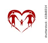 family vector with heart symbol | Shutterstock .eps vector #61868314