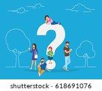 young men and women standing... | Shutterstock . vector #618691076
