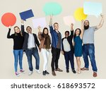 group of diverse people holding ... | Shutterstock . vector #618693572