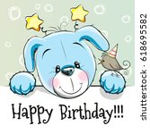 birthday card with cute puppy...   Shutterstock . vector #618695582