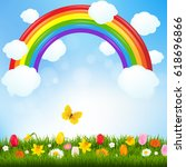 cartoon summer landscape | Shutterstock . vector #618696866