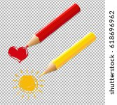 two pencils with heart and sun | Shutterstock . vector #618696962