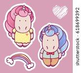 set of  cute cartoon boy and... | Shutterstock .eps vector #618699392