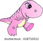 girl dinosaur vector... | Shutterstock .eps vector #618710312