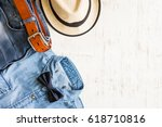 men's casual outfits with... | Shutterstock . vector #618710816