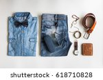 men's casual outfits with... | Shutterstock . vector #618710828