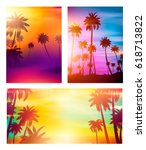 colorful summer banners ... | Shutterstock .eps vector #618713822