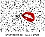 illustration of red lips singing | Shutterstock . vector #61871905