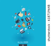 blog integrated 3d web icons.... | Shutterstock .eps vector #618719648