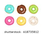 set of colorful decorated sweet ... | Shutterstock .eps vector #618735812