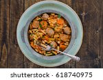 bean and pasta stew with... | Shutterstock . vector #618740975