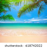 palm and tropical beach | Shutterstock . vector #618742022