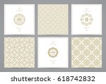 luxury retro wedding cards with ... | Shutterstock .eps vector #618742832