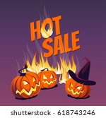 halloween pumpkins and flames... | Shutterstock .eps vector #618743246