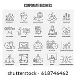 vector set of thin line icons... | Shutterstock .eps vector #618746462