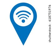 wifi pinpoint blue and white... | Shutterstock .eps vector #618751976